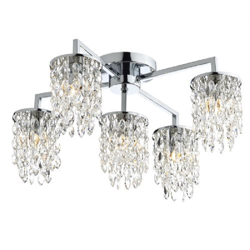 Niagra 5 Light Flush Polished Chrome Clear  (Class 2 Double Insulated) BXNIA5450-17